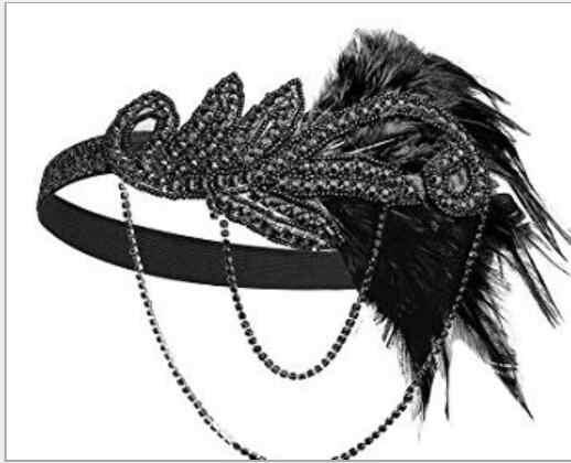 1920's Stirnband Kostüm Requisiten Charleston kostüm zubehör Nude Flapper Kopfstück Great Gatsby feder perlen stirnband Kette