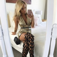2019 Full Sequins Gold Sexy Slim Playsuit Women Sleeveless V Neck Backless Casual Capris Shiny Club Bodycon Overall Femme
