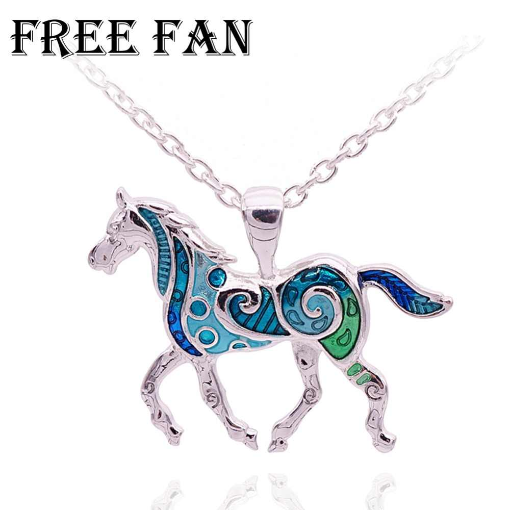 Free Fan Classic Animal Colorful Horse Necklace Pendant New Animal Boho Ethnic Necklace For Women Girls Party Accessories 2018