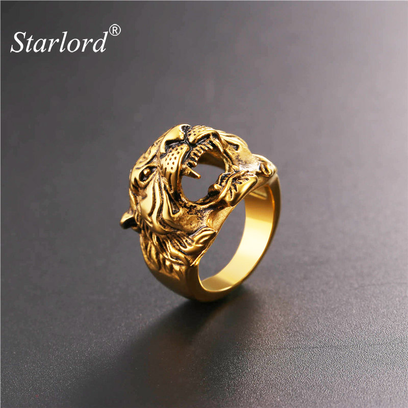 Starlord Cool Tiger Head Ring Punk Rock Jewelry Yellow Gold Color Mens Stainless Steel Biker Cocktail Rings Anillos GR2466