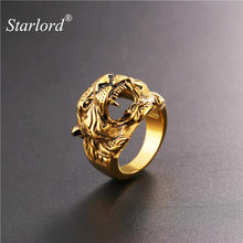 Starlord Cool Tiger Head Ring Punk Rock Jewelry Yellow Gold Color Mens Stainless Steel Biker Cocktail Rings Anillos GR2466(China)