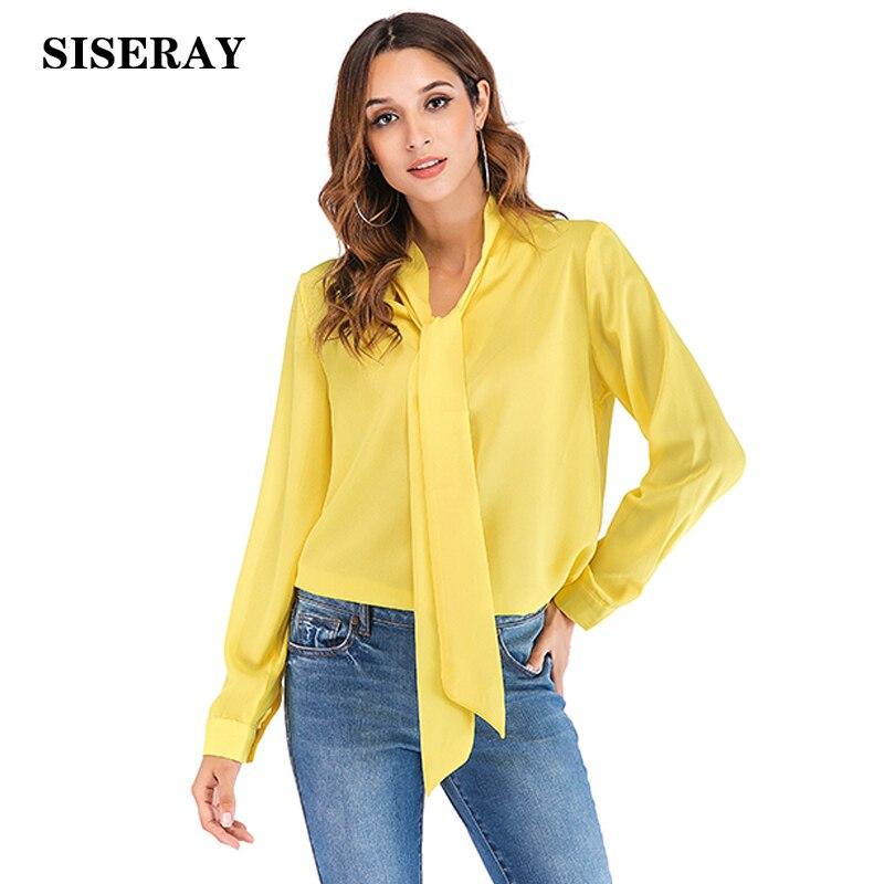 Plus Size Solid Color Chiffon Blouse Office Ladies Bow Tie Blouses Elegant Long Sleeve Female Blouse Shirt Tops For Women 5XL