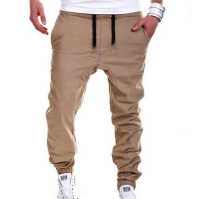 Hip Hop Trousers Men Casual Khaki Mens Joggers Solid Sweatpants Fashion Pants Elastic Cross Pant Large Size Hip Hop Trousers
