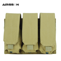 Tactical Hunting Triple Pouches Military Molle Magazine Pouch Bag Tan 600D Nylon Portable Airsoft Outdoor Accessory