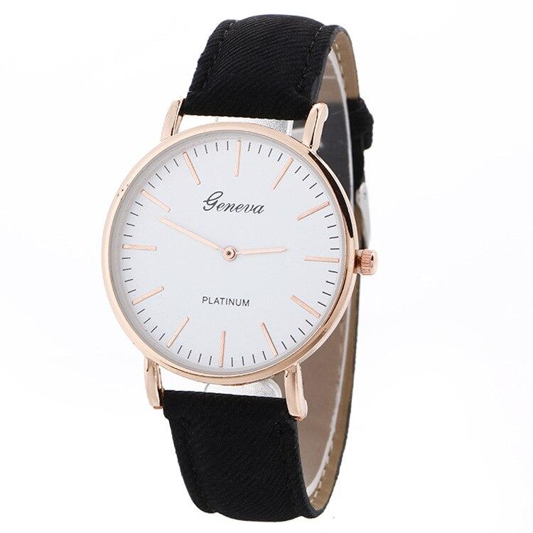 2017 Women Men Wrist Watches Casual Geneva Leather Quartz Analog Watch Rose Gold Silver Clock Relojes Mujer Montre Femme Horloge
