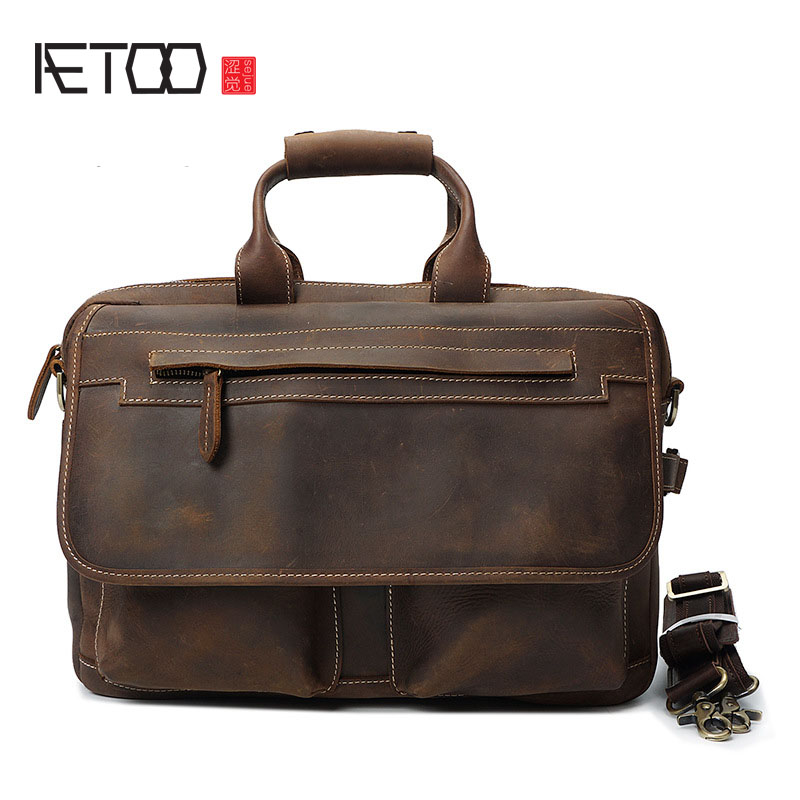 AETOO Retro first cowhide handbag mad horse leather shoulder Messenger bag casual leather male bag briefcase computer bag aetoo new men s business handbag computer bag crocodile pattern leather handbag fashion leather cowhide shoulder messenger bag