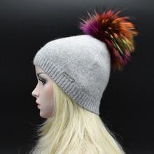 2017 Зима Взрослых Женщин шерсть шляпа с большой Реальный мех Енота помпонами Сплошной цвет Трикотажные шапки женские Меховая шапка Леди Шапочки Gorros