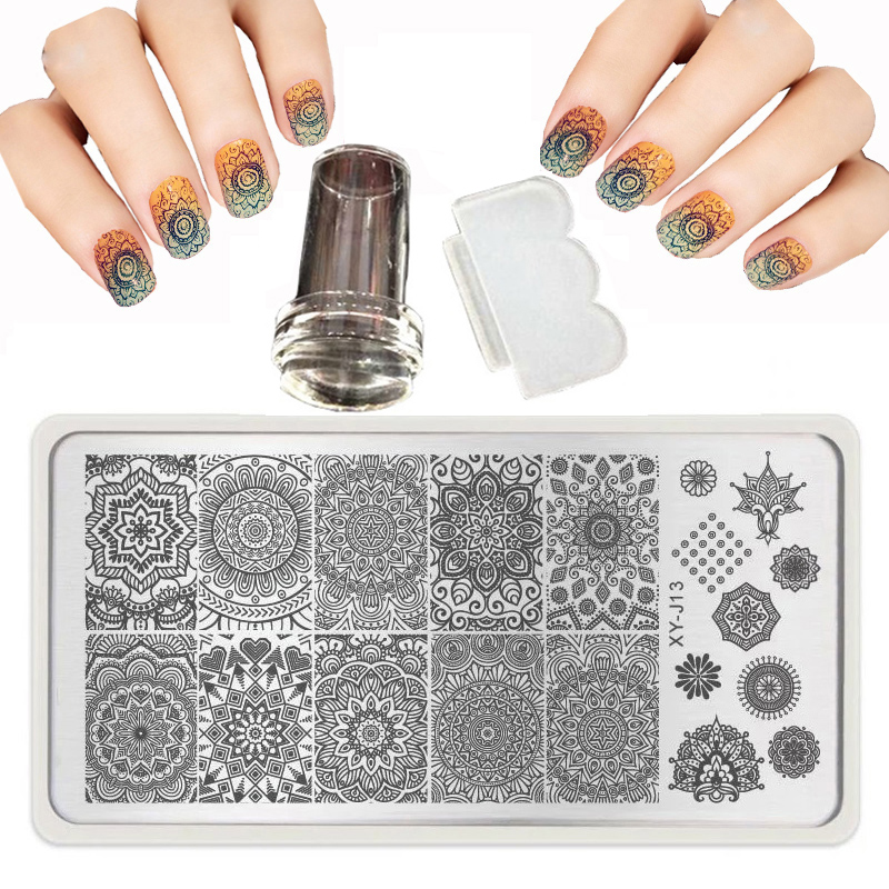 6X12cm 32 Style Nail Stamping Plates Set Image Manicure Stencil Polish DLY Nail Art Templates stamp 1 Scraper Beauty