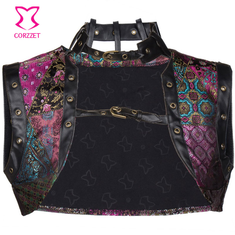 Vintage Purple Brocade and Leather Collar Sleeveles Jacket Sexy Gothic Clothing Steampunk Women   Corsets   and   Bustiers   Accessories