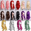 MCOSER 70CM 10 Colors Womens Lady Long Hair Wig Curly Wavy Synthetic Anime Cosplay Party Full Wigs And 6 Wig Caps