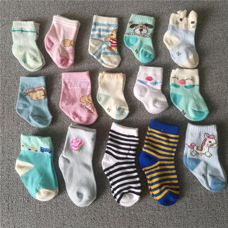 Wholesale 100 Pair Newborn Cotton Baby Socks Floor Socks Boys Girls Cute Cartoon Animal Baby Toddler Socks Infant Anti-slip Sock