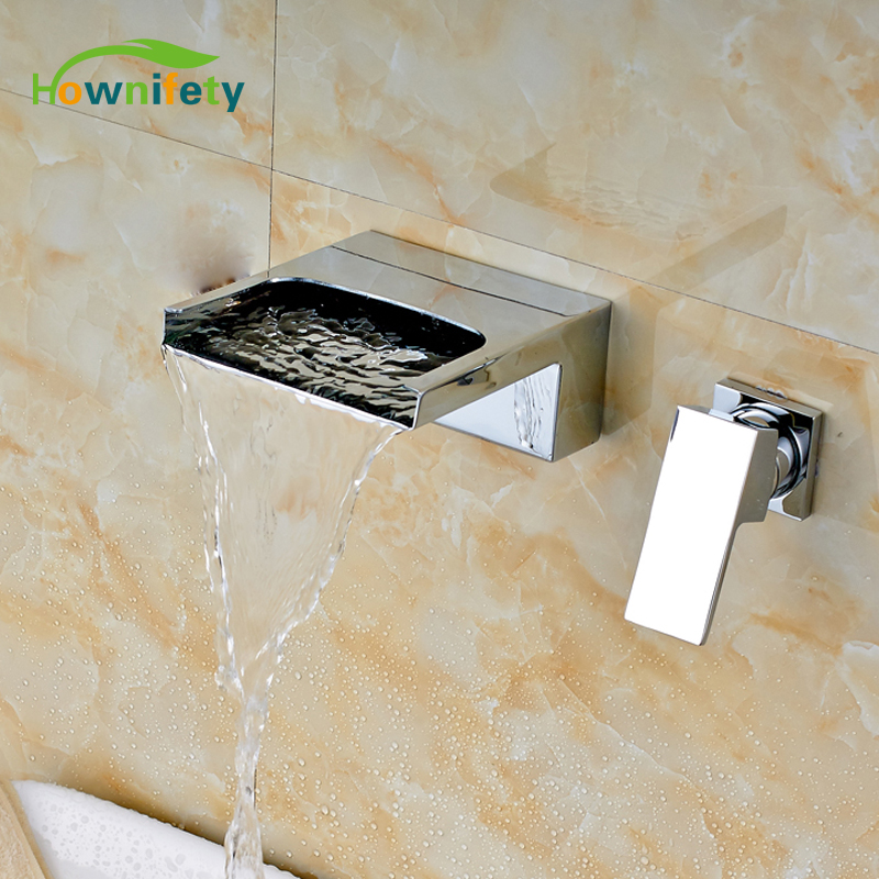 Chrome Polished Bathroom Sink/ Tub Faucet Single Handle Two Holes Wall Mount Solid Brass Mixer Tap