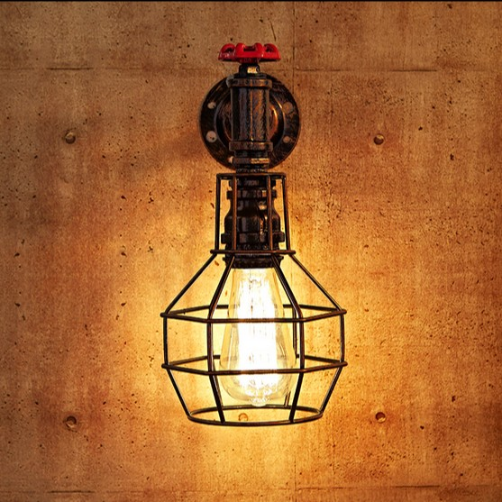 IWHD Loft Style Iron Cage Water Pipe Lamp Edison Wall Sconce RH Industrial Vintage Wall Light Fixtures For Home Indoor Lighting вытяжка hansa okc 6111 zh