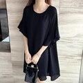 2017 Nueva 5XL 4XL 3XL Mujeres de Moda de Verano Flojo Lindo cuello redondo manga de la mariposa negro gasa más el tamaño tops dress caliente