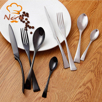 NCIRE 4 Units Gift Boxes Tableware Stainless Steel Black Silver Fork Knife Flatware Set For Home