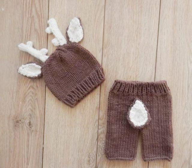 Deer Muster Häkeln Babymütze Neugeborenen Kostüm Set, Stricken ...