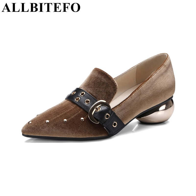 ФОТО ALLBITEFO fashion brand pointed toe low-heeled women pumps 2017 new spring thick heel buckle ladies shoes woman Sra zapato