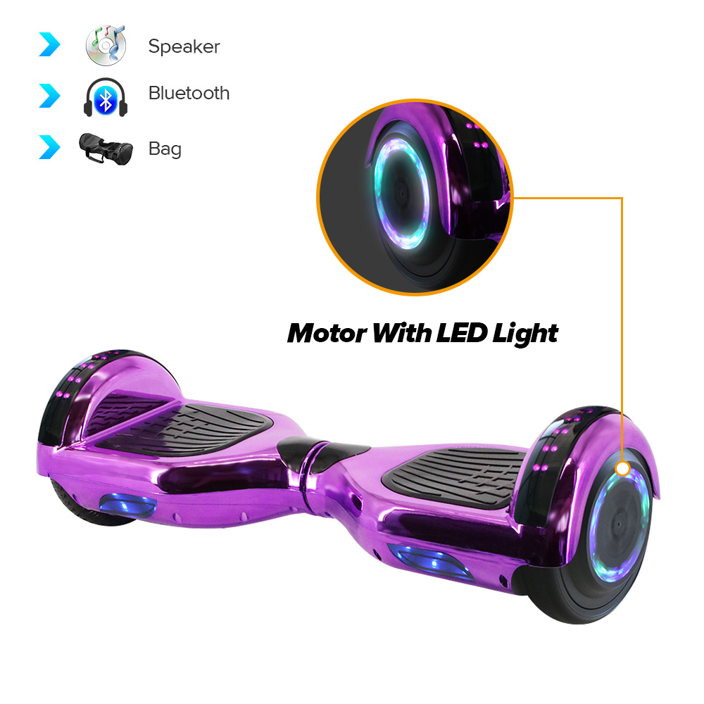 Electric Hoverboard Gyroscooter 6.5Inch Kids Self Balancing Scooter Led Motor Light Wheels Bluetooth Skateboard With Bag