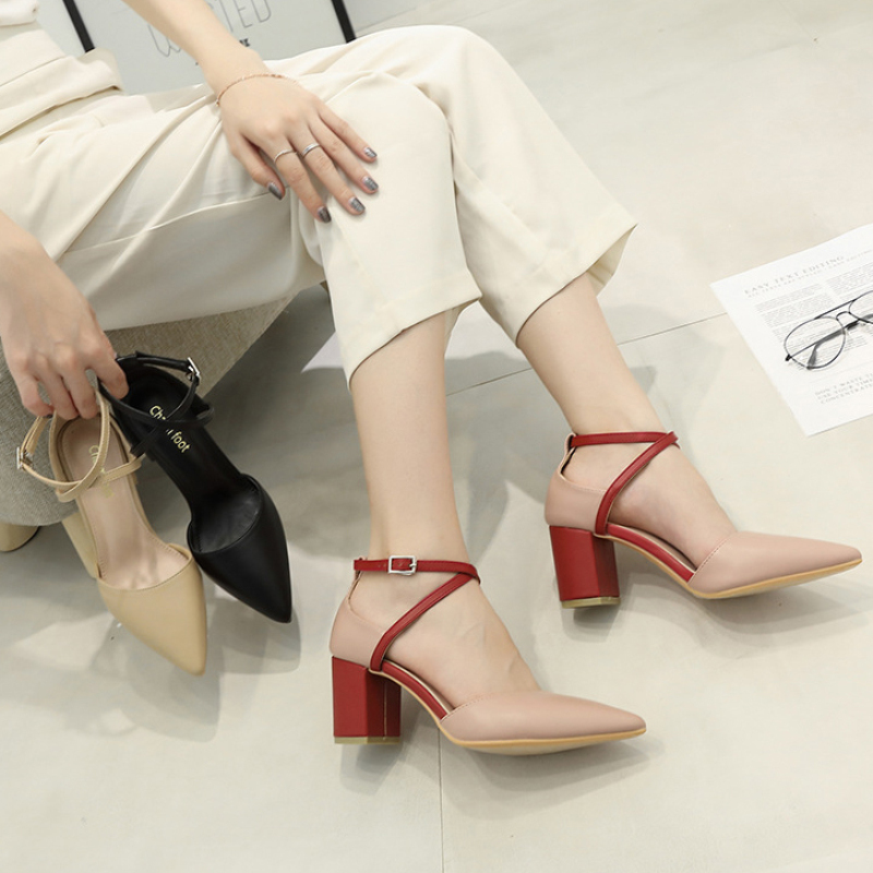 XZ011 Women Shoes Sexy Pumps PU Sandals Block Heels Classic Pointed Toe High Heel Ladies Strap