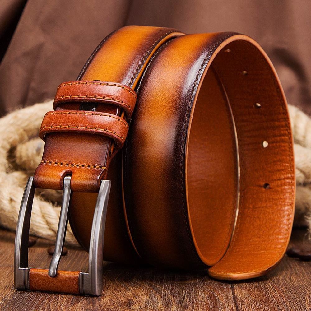 KAVIS Men's   Belt   Cow Leather   Belts   Brand Designer Fahsion Formal Pin Buckle Black Coffee Brown Genuine Leather   Belts   for Male