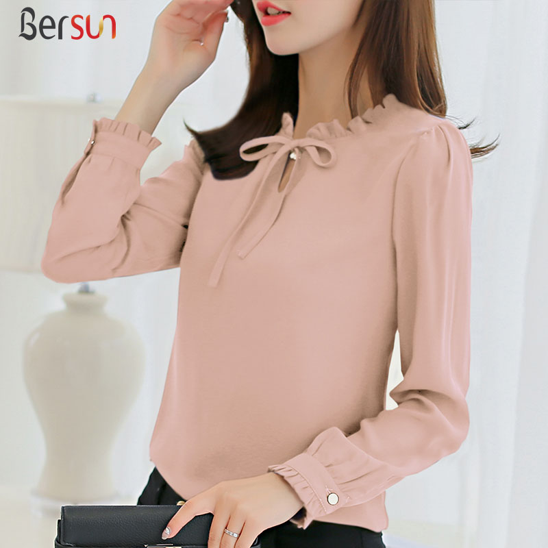 Bersun Woman S Fashion 2017 Harajuku Women Shirts Blouses Korean Style Long Sleeve Chiffon Blouse Ladies