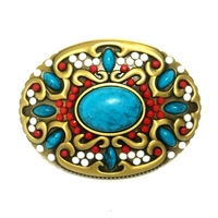 Bohemian Style Colored Stones Decoration Belt Buckle For Women Belt Accessories Retail Wholesale Custom Cowboy Cowgirl