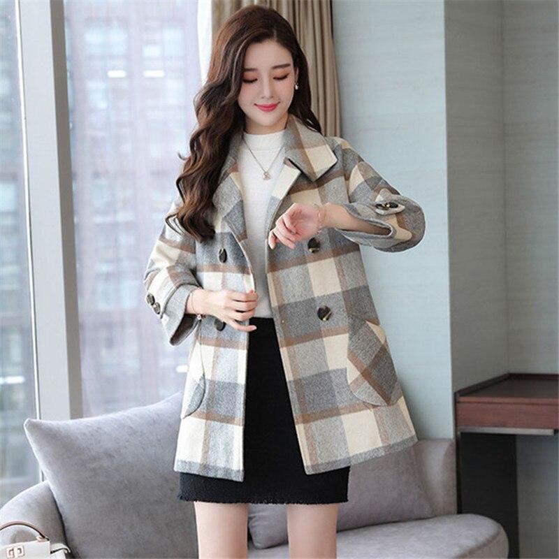Bleu Style Laine Manteau Mode Mince vert Vintage Plaid D'hiver De Coréen Femmes Long 2018 Manteaux Casual Pw6vq68B