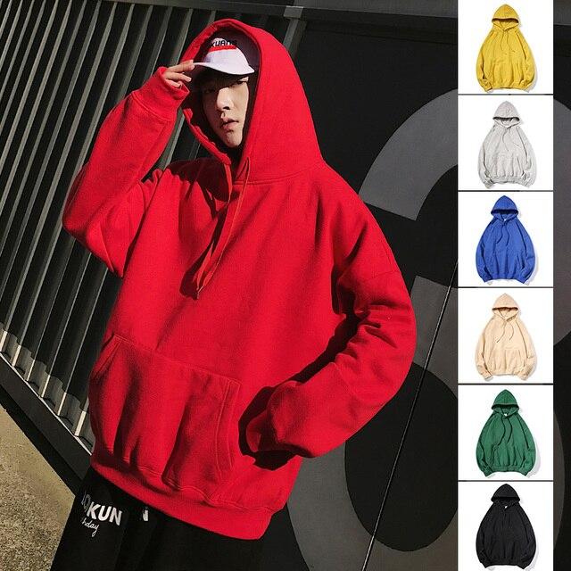 Harajuku Men Hoodies Sweatshirts Stranger Things Mens Japanese Streetwear Solid Color Hoodie Male Hiphop Winter Hoodies