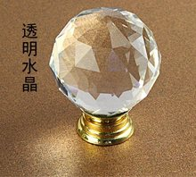 1PCS Kitchen Cabinet Drawer Door Knob Pulls Round 30mm Clear Crystal Gold Base Handles and Knobs Furniture Hardware(China)