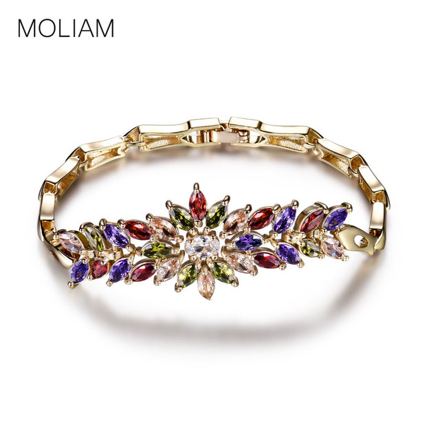 MOLIAM Luxury Crystal Bracelets for Women Ladies Gold-Color Chain Bracelet Shining AAA Cubic Zircon Handmade Jewelry MLL106