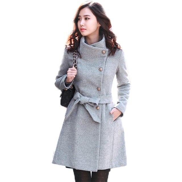 Abrigo de Invierno Chaquetas de Lana de las mujeres Recoger Cintura Peinada Abrigo Medio Largo Abrigo de Manga Larga