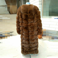2016 winter warmer thick 110cm long length real women fur vest  narual genuine fox fur coat  full sleeve patchwork lady cloth