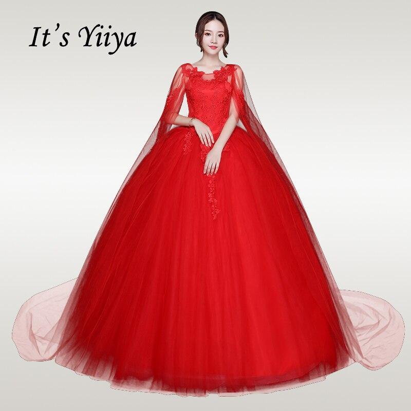 C'est YiiYa robe de mariée 2019 col rond sans manches rouge longues robes de mariée châle lacets grande taille Vestido de novia XXN219