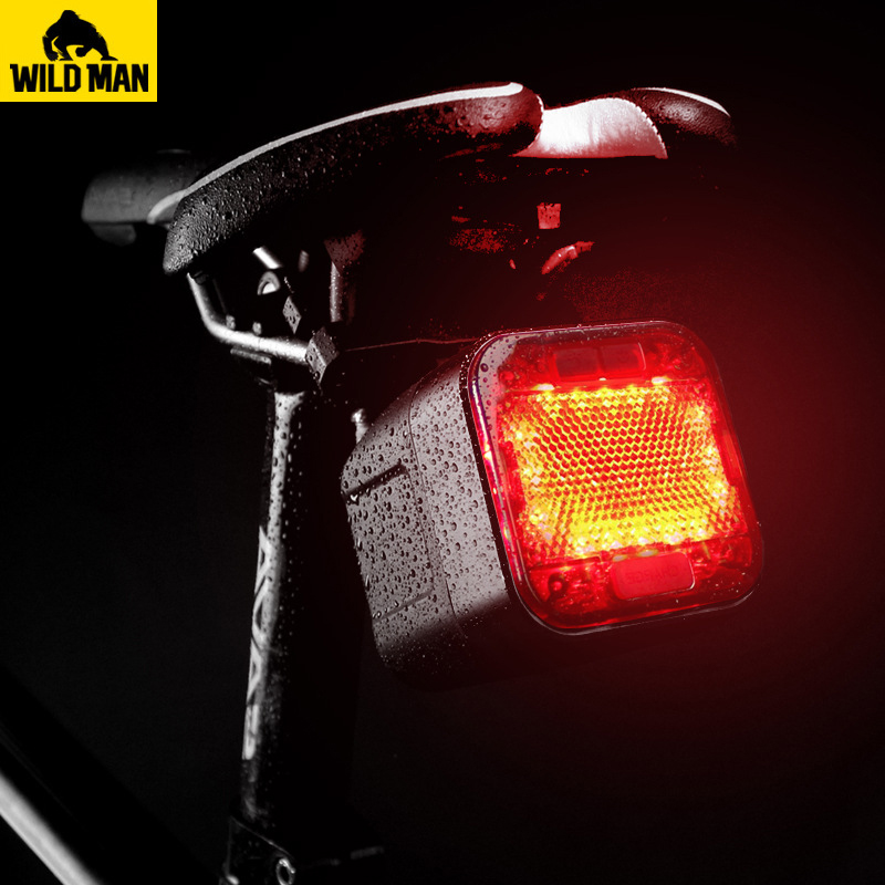 WILD MAN USB Rechargeable Bicycle Light LED Cycling Waterproof Taillight Bluetooth Speaker Safety Night Riding Bike