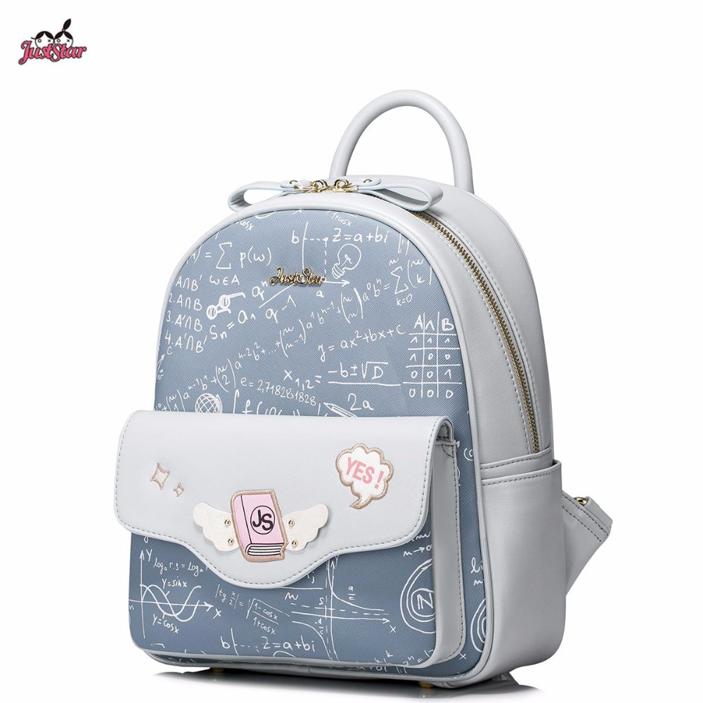 ФОТО 2017 New Just Star Brand Design Fashion Equation Printing PU Leather Women Girls Student Travel School Backpack Bag