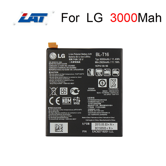 3000mAh High Capacity Phone Battery BL-T16 Use For LG G flex 2 Vu Vu4 H950 H955 H959 Phone 100% Original OEM Replacement Battery