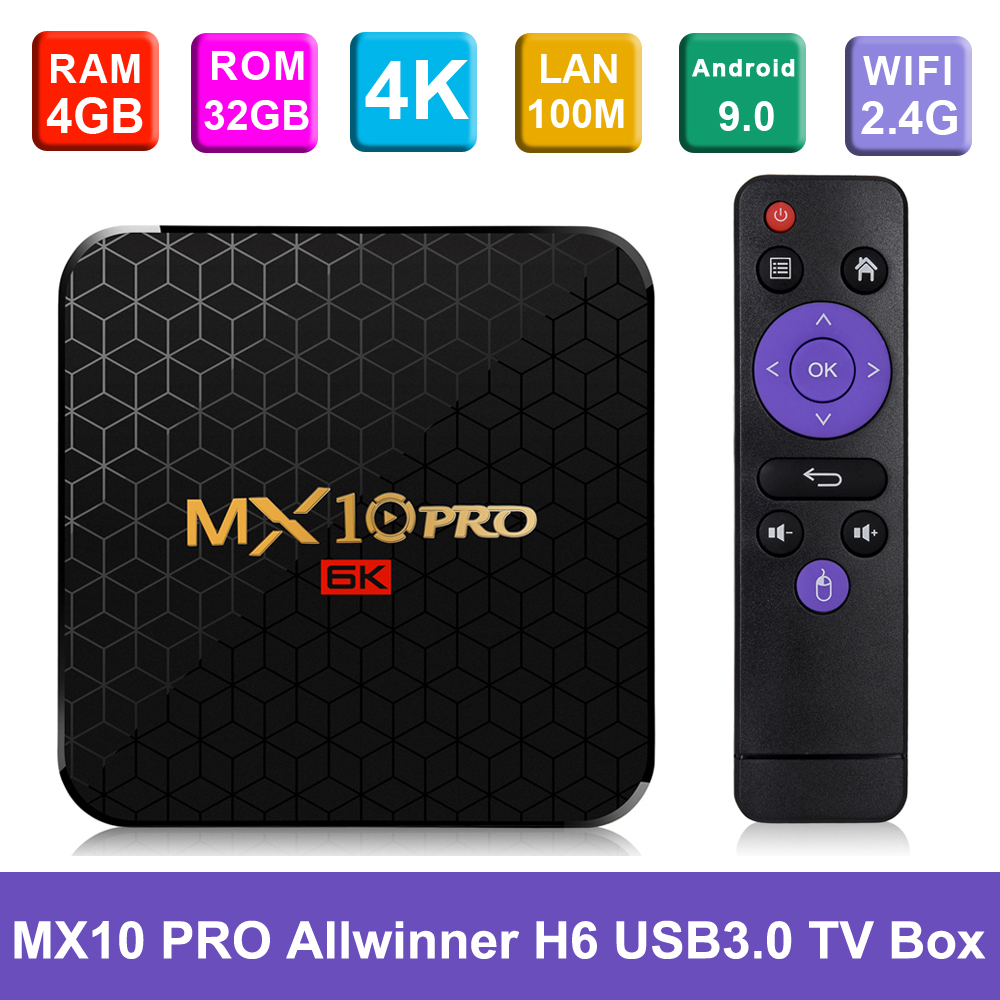MX10 PRO Android TV Box 4GB + 32 GB/64 GB 2,4G WiFi Smart Android 9,0 Set caja superior Allwinner H6 UHD 4K USB3.0 H.265 VP9 reproductor multimedia-in Decodificadores from Productos electrónicos    1