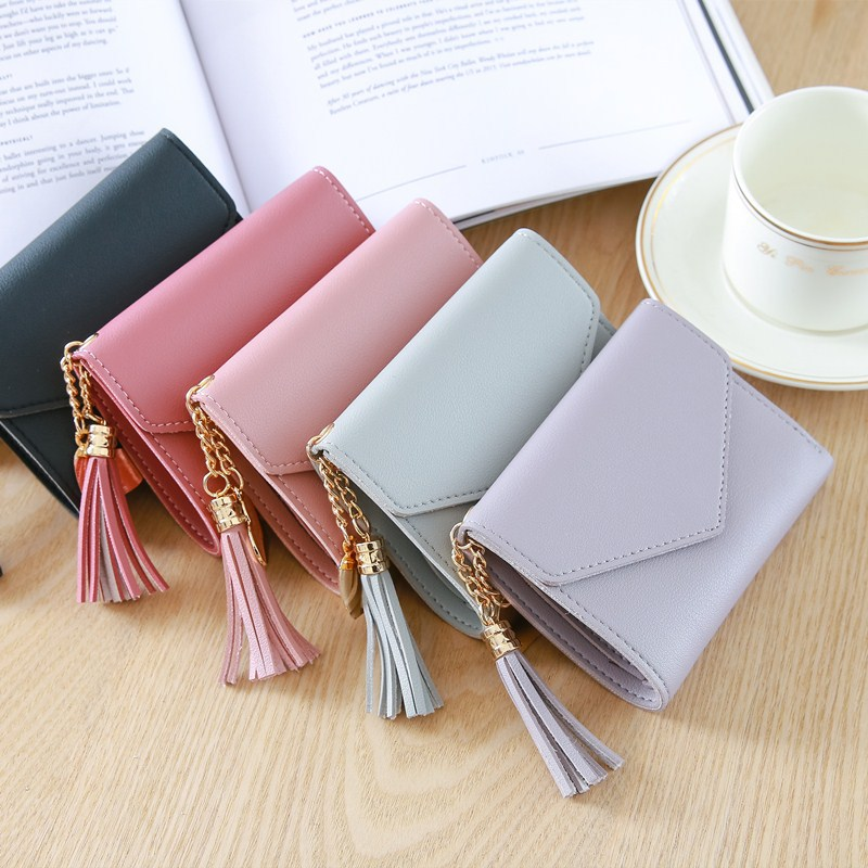 New Women Short Wallet Fashion Pink Small Card Wallets Leather Purse Female Money Bag Coin Pocket Mini Card Holder With Tassel 2018new designer heart cute pink small wallet for women lady mini clutch coin purse card holder pocket girl short wallets zipper