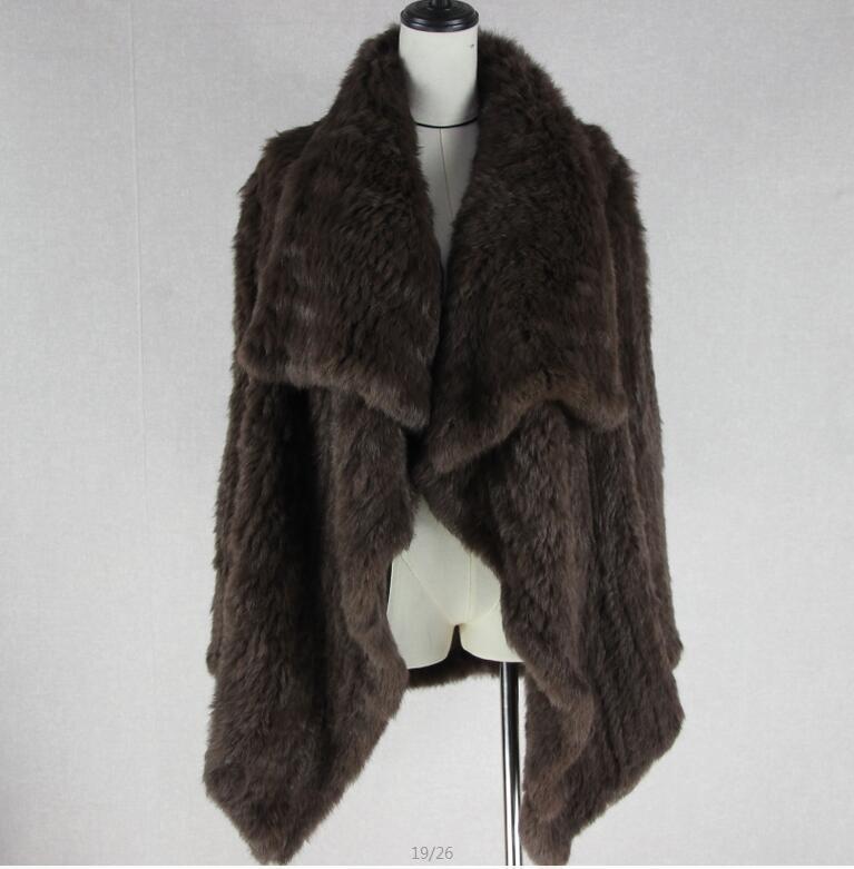 Трикотажный кардиган из натурального кроличьего меха, вязанные меховые накидки, шаль, пальто с кроличьим мехом, утепленное меховое пальто, женский модный стиль летучей мыши - Цвет: 4