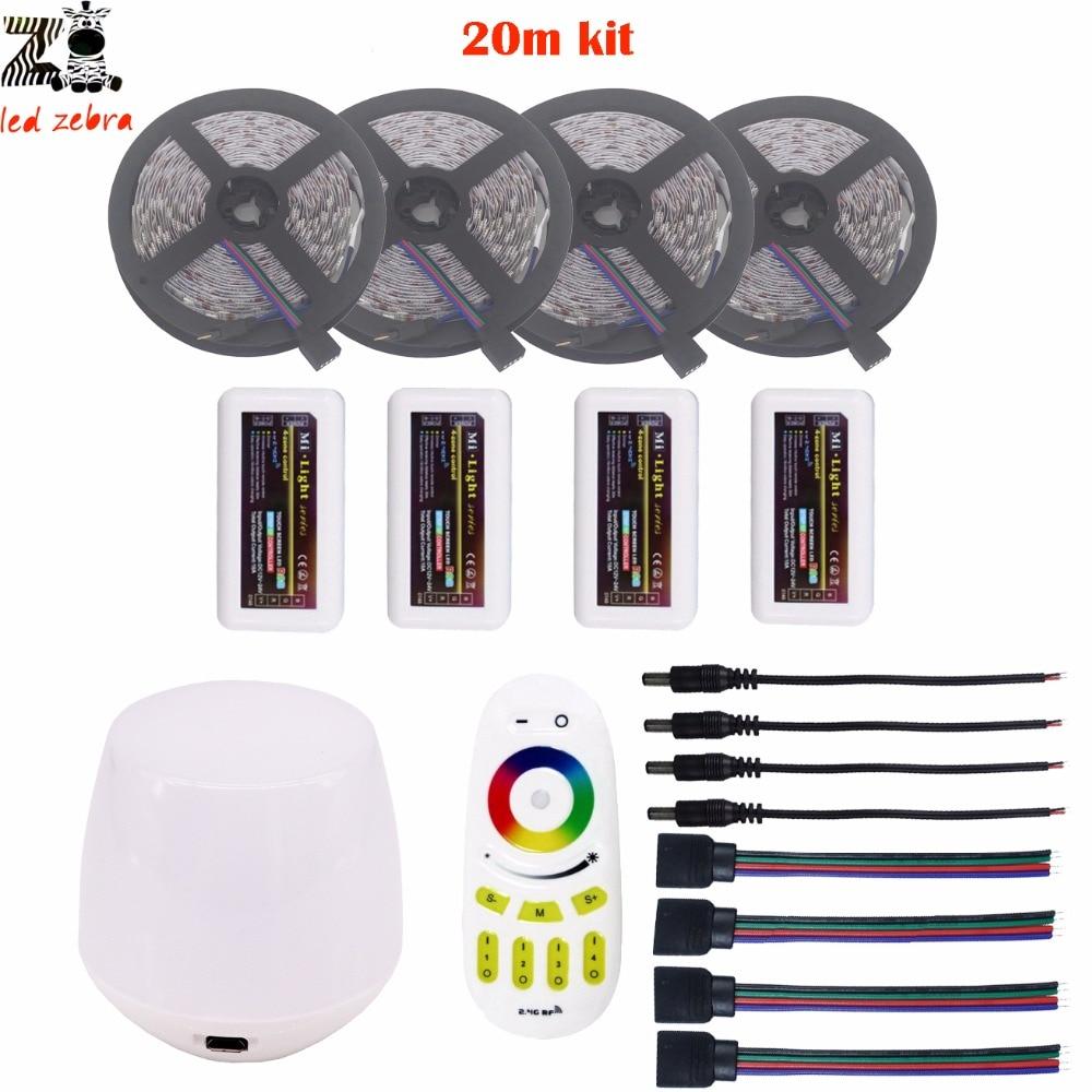 Выделите 5/10/15/20 М 5050 SMD rgb светодиодные полосы света dc12v + Mi. light 2,4 г rgb led контроллер + пульт дистанционного управления + wifi контроллер комплект