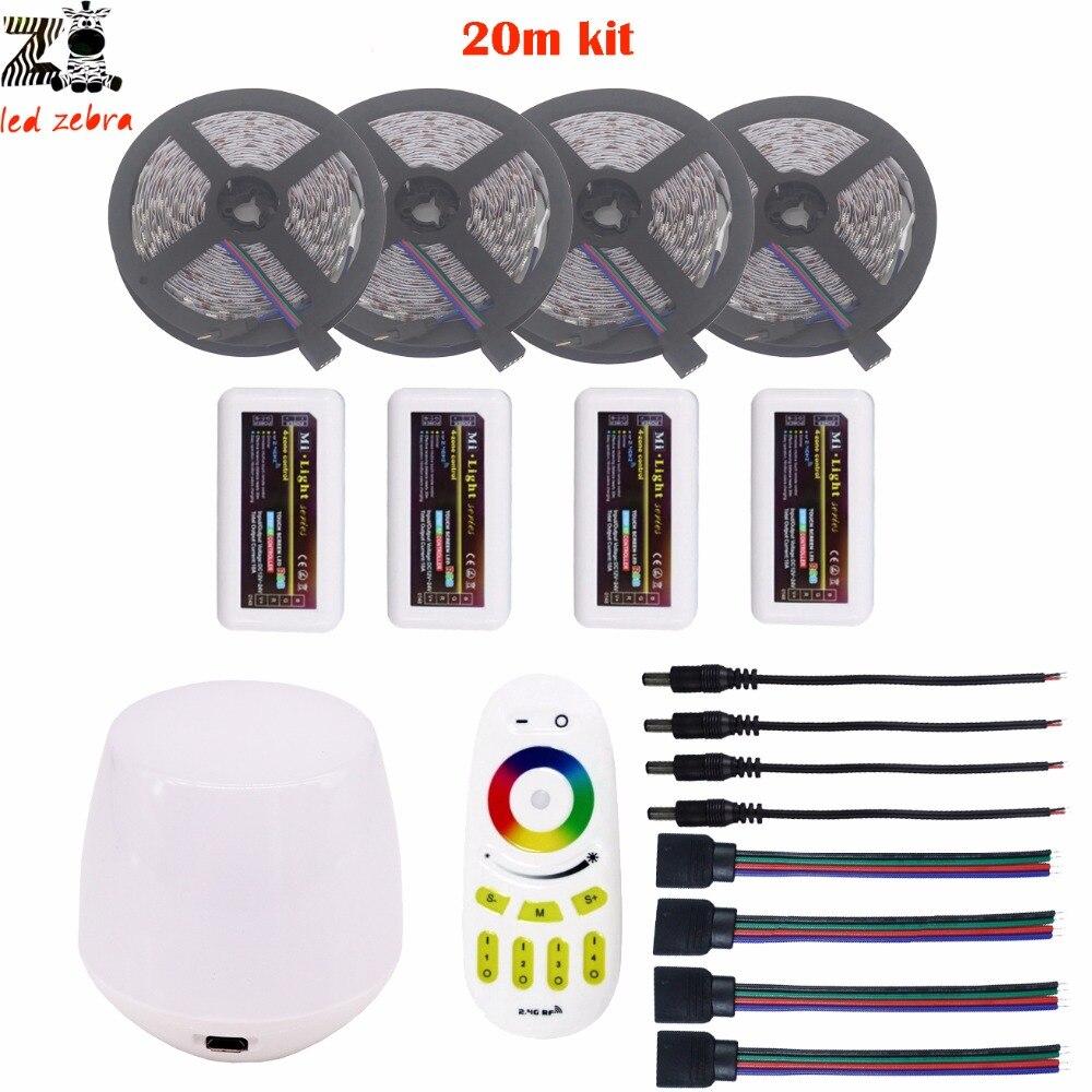 Mettre en évidence 5/10/15/20 m 5050 SMD rgb led bande lumière dc12v + mi. lumière 2.4G rgb led de contrôle + télécommande + kit de contrôleur wifi