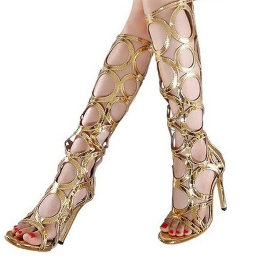 black gold sexy women summer knee high boots gladiator rome holes cut out  open toe sandals 1949490d31d4