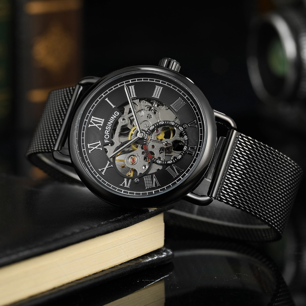 Forsining Men Mechanical Wristwatches Self-Winding Automatic Mens Watches Mesh Band Stainless Steel Skeleton Watch Gifts 2019 Forsining Men Mechanical Wristwatches Self-Winding Automatic Mens Watches Mesh Band Stainless Steel Skeleton Watch Gifts 2019