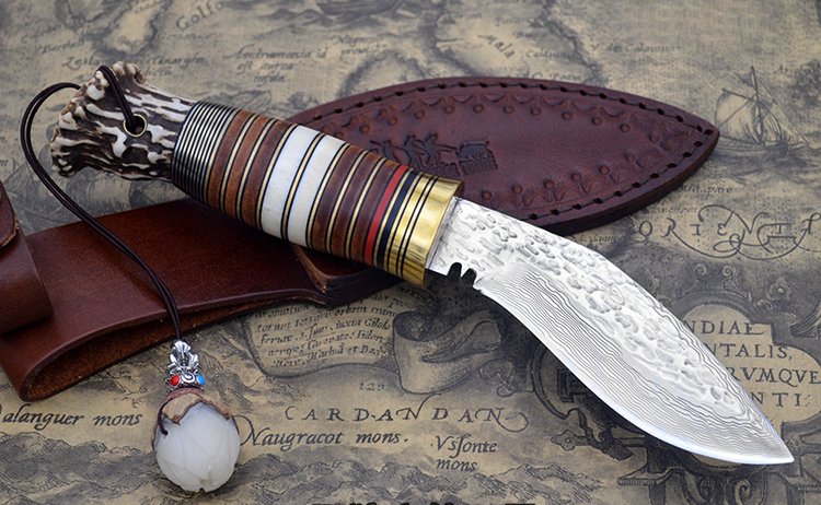 2017 new damascus tactical hunting knife corrugated fixed blade knife camping wootz survival knives c