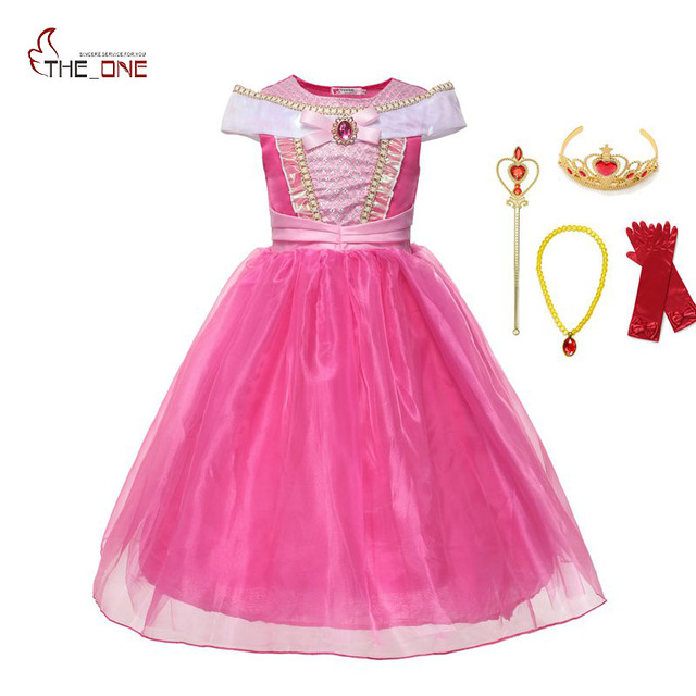544fddb35c3 MUABABY Girl Princess Sleeping Beauty Dress up Clothes Sleeveless Off  Shoulder Aurora Cosplay Costume kid Christmas