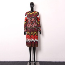 [XITAO] New autumn Chinese national style knee-length loose form full regular sleeve O-neck natural waist female dress OFB-021