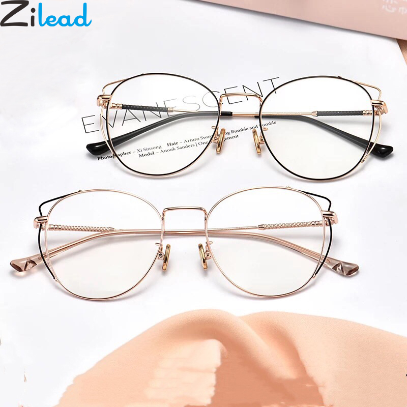 Zilead Glasses Frame Computer Optical-Spectacl Cat-Eyes Anti-Blue-Light Metal Round Women