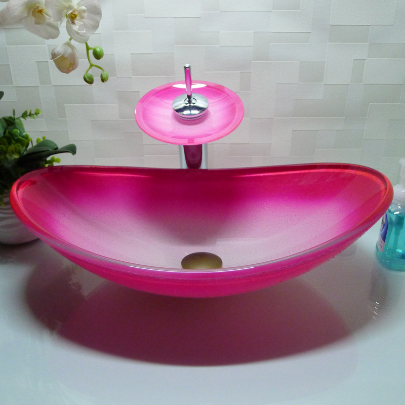 Oval bathroom tempered glass pink counter top wash basin cloakroom hand painting above counter - Glass cloakroom basin ...