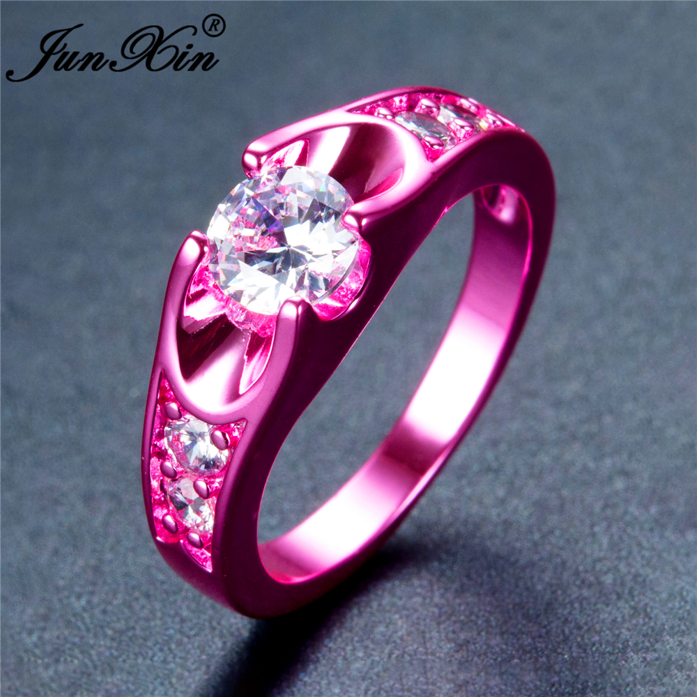 JUNXIN Male Female Geometric Ring Green Gold Filled Jewelry Vintage ...