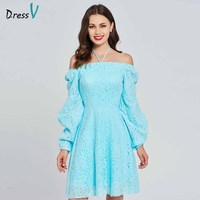 Dressv light lake blue homecoming dress halter neck a line off the shoulder long sleeves lace homecoming&graduation dresses